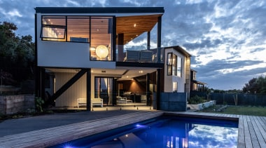 Wall House View From North East - architecture architecture, backyard, building, design, estate, facade, home, house, interior design, leisure, mansion, property, real estate, rectangle, reflecting pool, residential area, roof, sky, swimming pool, villa, teal, blue