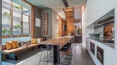 Winner – Cplusc Architectural Workshop architecture, house, interior design, living room, loft, real estate, gray