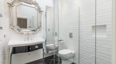 Winner – Emma Morris Eterno Design - bathroom bathroom, floor, flooring, home, interior design, plumbing fixture, room, tile, white, gray