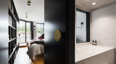 Winner Bathroom Suite – Architect Prineas - architecture architecture, bathroom, ceiling, home, house, interior design, room, white, black
