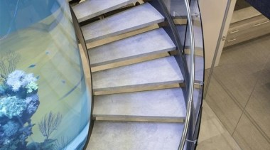 Zorzi Homes 4 architecture, daylighting, glass, handrail, reflection, stairs, structure, water, gray, teal