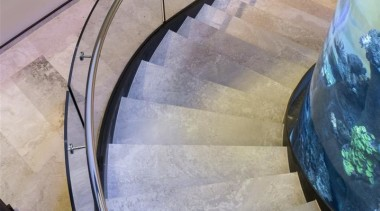 Zorzi Homes architecture, daylighting, floor, flooring, glass, handrail, stairs, gray, teal