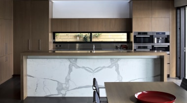 Bookmatched State Vien Island - Island - Statuary cabinetry, countertop, floor, interior design, kitchen, gray, black
