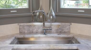 Historic Bungalow Renovaiton - Kitchen Sink Detail - bathroom, bathroom accessory, cabinetry, countertop, cuisine classique, floor, granite, home, interior design, kitchen, room, sink, tile, wall, gray, black
