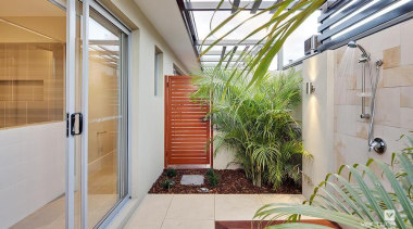 Outdoor Shower. - The New Dimension Display Home architecture, balcony, courtyard, daylighting, door, estate, facade, home, house, property, real estate, window, gray