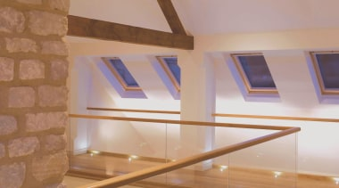 LED Lights - architecture | ceiling | daylighting architecture, ceiling, daylighting, floor, interior design, loft, stairs, wall, wood, brown, orange