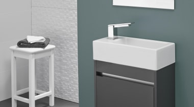 Chunky modern hand basin and cabinet for small angle, bathroom, bathroom accessory, bathroom cabinet, bathroom sink, ceramic, drawer, floor, plumbing fixture, product, product design, sink, tap, gray