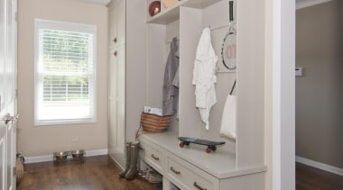 Bachelor Pad to Serene - Laundry Room - floor, flooring, furniture, hardwood, home, interior design, room, wall, wood, wood flooring, gray