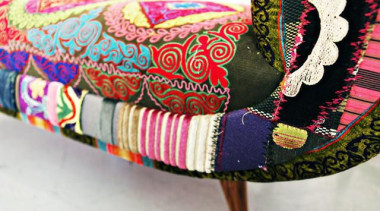 These exuberant pieces of furniture are the fruits design, magenta, patchwork, pink, textile, white