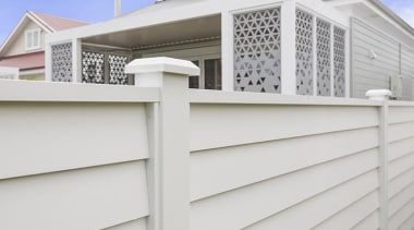 Simpler. Faster. Proven Weathertight. - A-lign Fencing - facade, fence, home, home fencing, property, real estate, residential area, siding, white