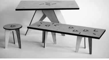 by Yusuf Patel - Reciprocal Table - black black and white, furniture, line, monochrome, monochrome photography, product design, table, white