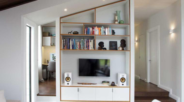 A hidden home office can be opened up furniture, home, house, interior design, living room, table, gray, black