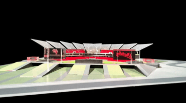 Estadio Diablos is the new stadium design for architecture, arena, product design, scale model, sport venue, structure, black