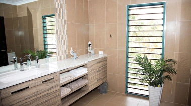 Winner Bathroom of the Year 2013 North Queensland bathroom, cabinetry, floor, flooring, home, interior design, room, gray