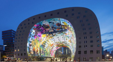 The Markthal Rotterdam is a market hall unlike arch, architecture, building, city, corporate headquarters, daytime, downtown, facade, landmark, metropolis, metropolitan area, plaza, sky, structure, tourist attraction, blue