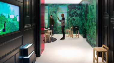 'Droog' is the wallpaper installation that has been interior design, room, black, white