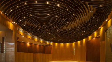 Building with pixelated screen - Building with pixelated architecture, auditorium, ceiling, daylighting, interior design, light, lighting, lobby, performing arts center, brown