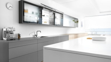 Up & Over Lift System - AVENTOS HS countertop, interior design, kitchen, sink, tap, white, gray