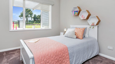 Lovely double bedroom in Landmark Homes Whangarei Showhome, bed, bed frame, bed sheet, bedroom, home, interior design, property, real estate, room, wall, window, gray