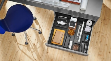 AMBIA-LINE inner dividing system – organization at its floor, flooring, furniture, product design, table, wood, orange