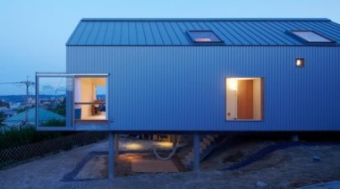 4n, ikoma, JapanNinkipen - World Architecture News House architecture, facade, home, house, real estate, roof, shed, blue, teal