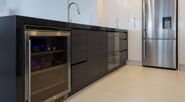 designatek gloss, designatek textured, profile handle, bar fridge, cabinetry, countertop, furniture, home appliance, kitchen, major appliance, product design, gray, black
