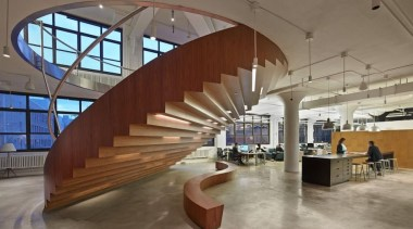 The design for renowned advertising agency Wieden+Kennedy moves architecture, daylighting, interior design, lobby, structure, gray, brown