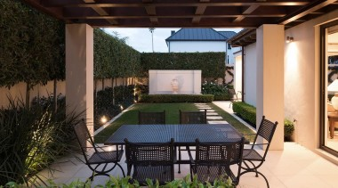 Mellons Bay 6 - backyard | courtyard | backyard, courtyard, estate, outdoor structure, patio, pergola, property, real estate, roof, yard, black