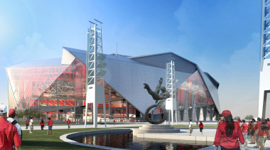 Mercedes-Benz Stadium 06 - Mercedes-Benz Stadium 06 - architecture, building, city, convention center, corporate headquarters, mixed use, sport venue, stadium, structure, tourist attraction, teal