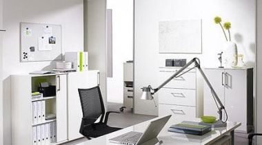 Sliding-door cabinets - a must in modern offices. desk, furniture, interior design, office, product design, gray, white