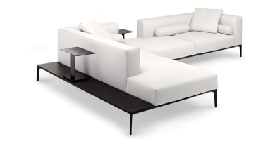 Jaan living Sofa by EOOS for Walter knoll.For angle, chaise longue, coffee table, couch, furniture, product, product design, sofa bed, studio couch, table, white