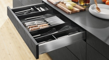 AMBIA-LINE inner dividing system – organization at its countertop, drawer, furniture, kitchen, kitchen appliance, kitchen stove, product design, table, black, white