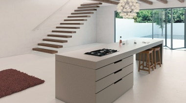A warm grey with a distinctive texture delivering desk, furniture, interior design, product, product design, table, gray