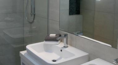 Earthstone talc ivory porcelain bathroom tile - Earthstone bathroom, bathroom accessory, bathroom cabinet, bathroom sink, interior design, plumbing fixture, room, sink, tap, tile, gray