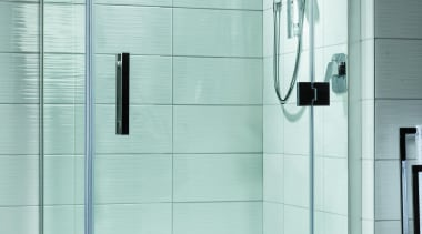Designed specifically for modern New Zealand bathrooms, the angle, bathroom, glass, plumbing fixture, shower, shower door, tap, gray, white