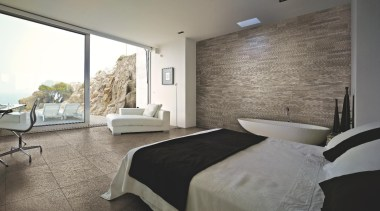 Stone D barge bedroom floor tile murale f architecture, bedroom, ceiling, estate, floor, flooring, home, interior design, property, real estate, room, suite, wall, window, gray