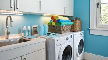 Utilitarian spaces such as laundry rooms and mudrooms clothes dryer, home appliance, kitchen, laundry, laundry room, major appliance, room, washing machine, gray