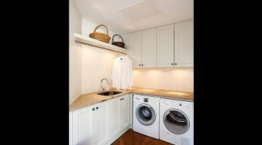 Clean crisp laundy - clothes dryer | countertop clothes dryer, countertop, floor, home, interior design, kitchen, laundry, laundry room, property, real estate, room, black, gray