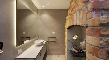 Chris Holmes of CAAHT Studio Architects bathroom, floor, interior design, room, tile, brown, orange