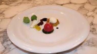 At Euro Bar & Restaurant - At Euro dessert, dish, dishware, food, plate, platter, porcelain, serveware, tableware, gray, orange
