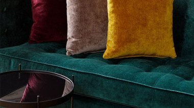 Endulge your senses with VICTORY, a velvet look couch, cushion, furniture, pillow, textile, throw pillow, black