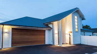 Envira Bevel Back Weatherboards - Two Storey Home building, facade, home, house, property, real estate, roof, shed, siding, teal, blue