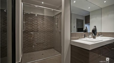 Ensuite design. - The Providence Display Home - architecture, bathroom, floor, flooring, interior design, room, tile, gray, black
