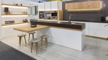 kitchen, floating shelves, veneer, dekton, stone splashback countertop, cuisine classique, floor, furniture, interior design, kitchen, product design, gray