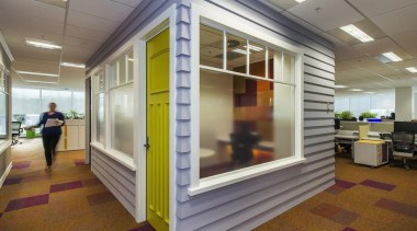 COMMERCIAL INTERIOR OFFICE AWARD  With an extensive real estate, window, gray, brown