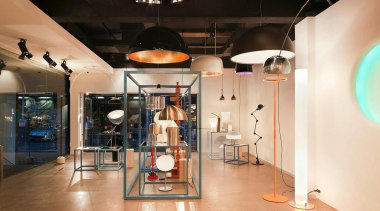 Euroluce has opened a new Melbourne Light Studio boutique, ceiling, exhibition, interior design, orange, black