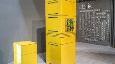 Forget 'bigger is better'; in the eco-conscious yet furniture, product, product design, shelf, yellow, gray