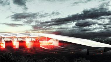 Estadio Diablos is the new stadium design for architecture, atmosphere, cloud, phenomenon, sky, sport venue, structure, white, black