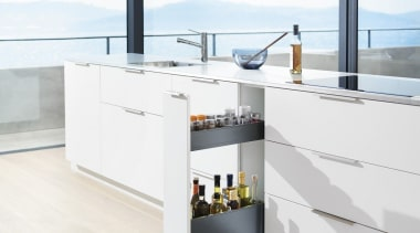Blum's idea for narrow cabinets offers a simple furniture, kitchen, product, table, tap, white