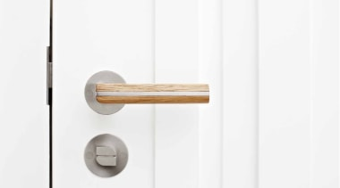 PBL22/50 - Solid Sprung Lever Handle Attached to door handle, hardware accessory, lock, product design, white